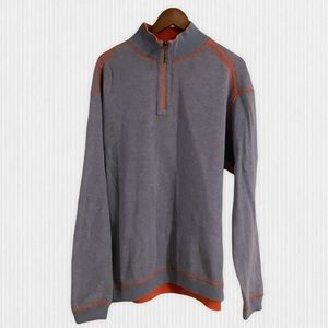 Tommy Bahama Reversible Blue Orange Zip Sweater XL